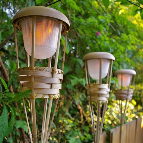 tiki torch light bamboo flickering led battery operated