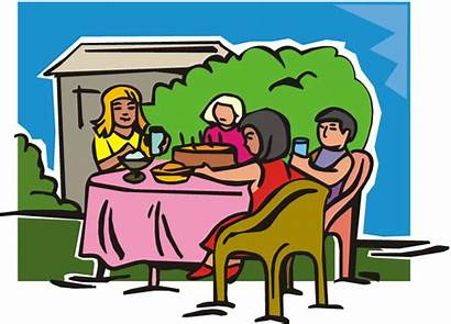 Eating Clipart Dining Outside Friends Cliparts Cartoon