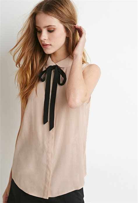 blouse with bow collar forever 21 pan collar bow blouse in pink lyst