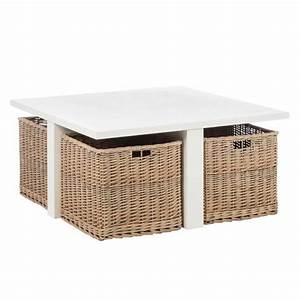 Table Basse Panier : table basse avec 4 paniers en osier marin l 95 x l 95 x h 45 achat vente table basse ~ Teatrodelosmanantiales.com Idées de Décoration