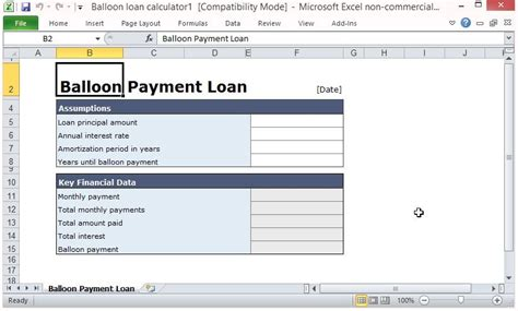 balloon payment excel template