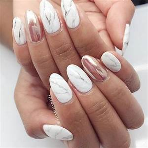 Marble and rose gold nails - a modern look for your day ...