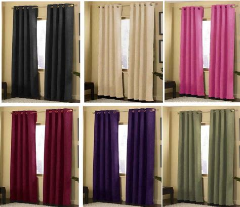 2 Grommet Curtains by 2 Panels Grommet Solid Micro Suede Curtain Window Covering