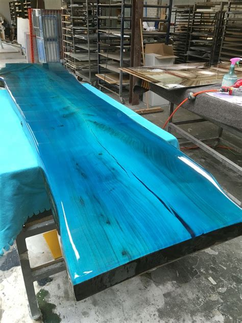 Tabletop From Elm With Transparent Epoxy Colour Resin