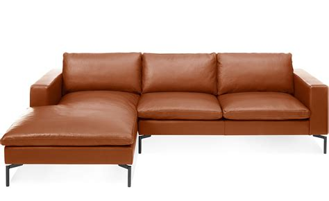 chaise a standard leather sofa with chaise hivemodern com