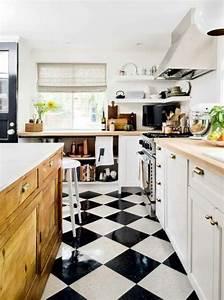 Cuisine Bois Et Blanc : le carrelage damier noir et blanc en 78 photos ~ Dailycaller-alerts.com Idées de Décoration