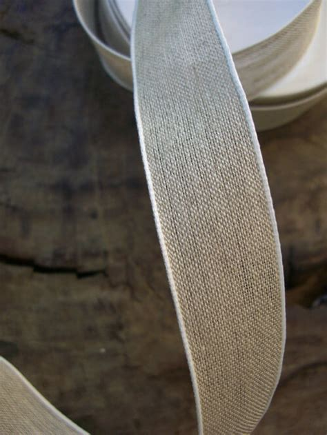 linen ribbon  white edge   yds