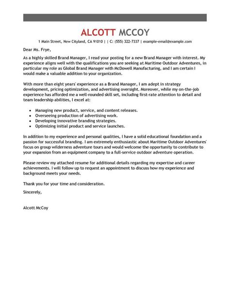 brand manager cover letter examples livecareer