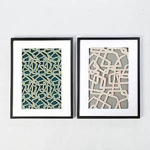 framed handmade paper wall art abstract lines west elm With kitchen cabinets lowes with capiz wall art crystal formation