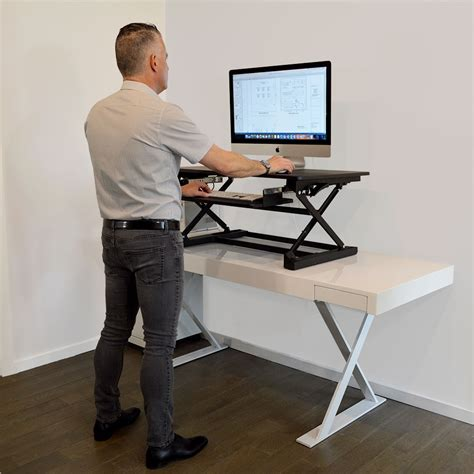 Desk Fit by Xec Fit Adjustable Height Convertible Sit To Stand Up Desk