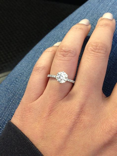 wedding ring finger for widows close up of james allen french pave 1 23 carats on size 6