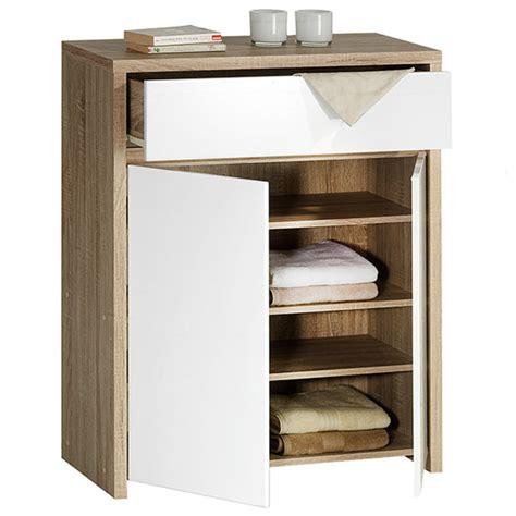 cuisines compactes commode 1 tiroir 2 portes catania chene sonoma blanc