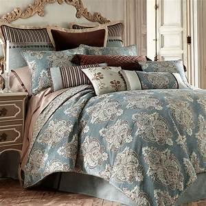Hilliard, Medallion, Aqua, Comforter, Bedding, By, Waterford