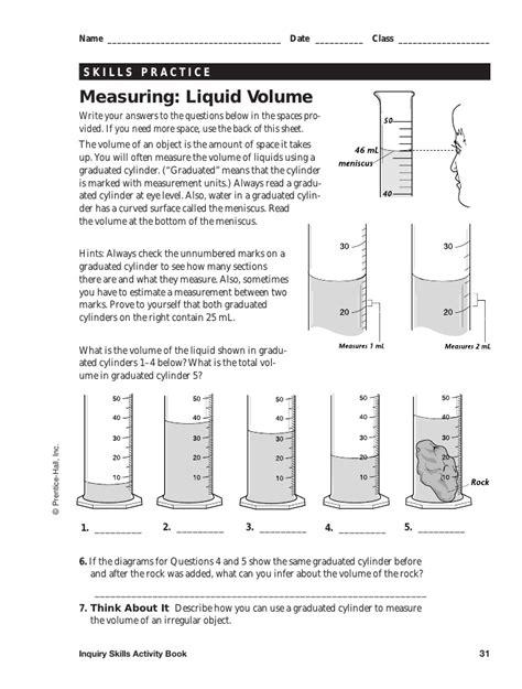 measuring liquid volume worksheet answers worksheets for