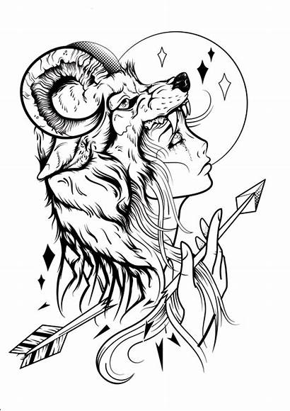 Tattoo Tattoos Coloring Behance Pages Drawings Wolf