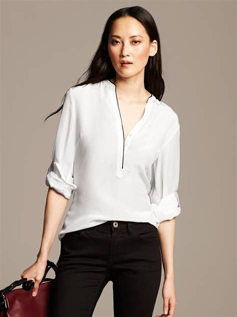 banana republic silk blouse banana republic silk popover blouse in white lyst