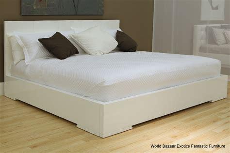 king size bed white high gloss frame finish geometric