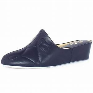 relax slippers dulcie dressy low wedge navy leather With letter slippers