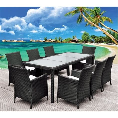 salon de jardin table en r 233 sine tress 233 e noir 8 pl achat vente salon de jardin salon de