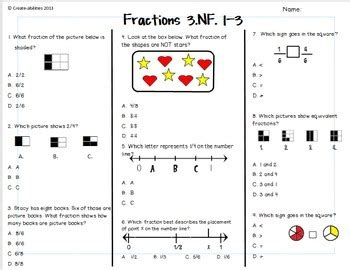 Fractions Test 3rd Grade By Createabilities  Teachers Pay Teachers