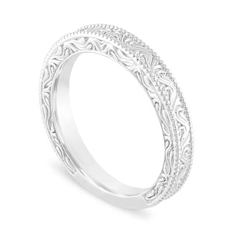 filigree wedding band vintage wedding ring anniversary ring style engraved 14k white