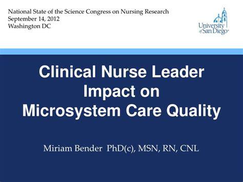 clinical nurse leader impact  microsystem care