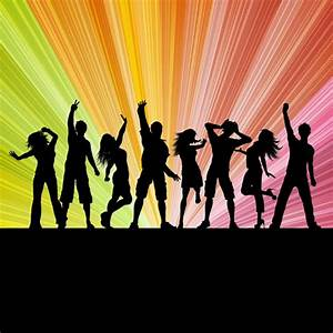 Silhouettes of people dancing on a starburst background ...