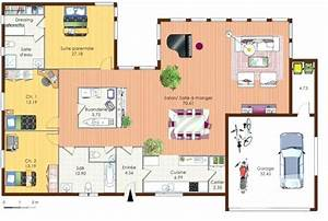 Plan Maison 4 Chambres Avec Suite Parentale : plan maison plain pied 2 chambres avec suite parentale id es de travaux ~ Melissatoandfro.com Idées de Décoration