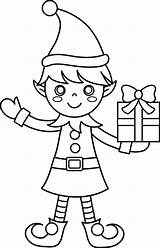 Elf Drawing Coloring Christmas Pages Line Print Getdrawings sketch template
