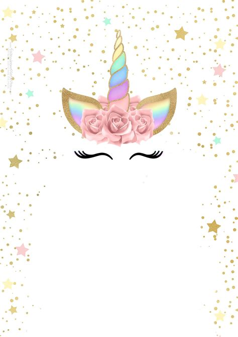 unicorn  rainbow  printable invitations
