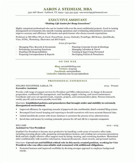 Ea Resume by Executive Assistant Free Resume Sles Blue Sky Resumes