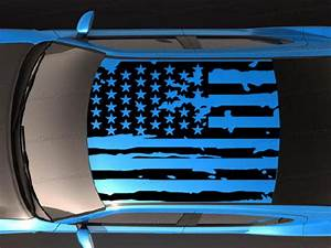 Roof Banner American Flag Style Decal Compatible With