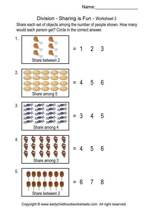 division worksheets  sharing  fun division