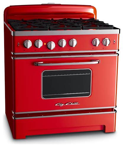 """Big Chill 36"""" Retro Stove Cherry Red  Gas Ranges And"""