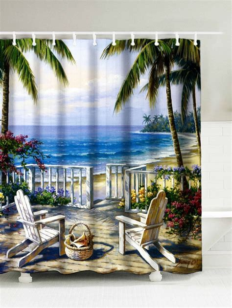 landscape sea painting shower curtain painting