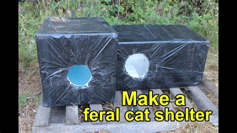 feral cat shelter   styrofoam cooler lined