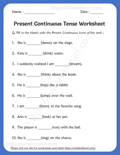 present continuous tense worksheets grade   home