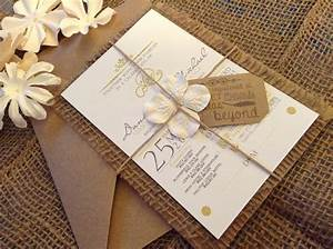 hand made country chic burlap wedding invitation set 100 With wedding invitations with baby pictures