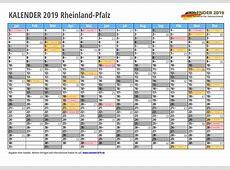Kalender 2019 RHEINLANDPFALZ Feiertage & Schulferien
