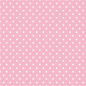 White polka dots on pink background