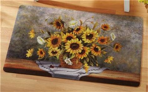 sunflower kitchen mat country sunflower bouquet cushioned kitchen mat rug new 2611