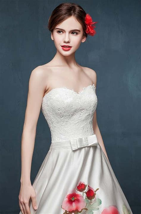 sweetheart strapless hand painted peony ivory satin