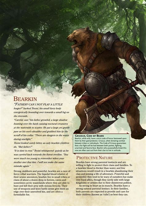 dnd races race dragons dungeons bearkin 5e homebrew rpg material bear edition dragon community pathfinder characters humanoid classes posts custom