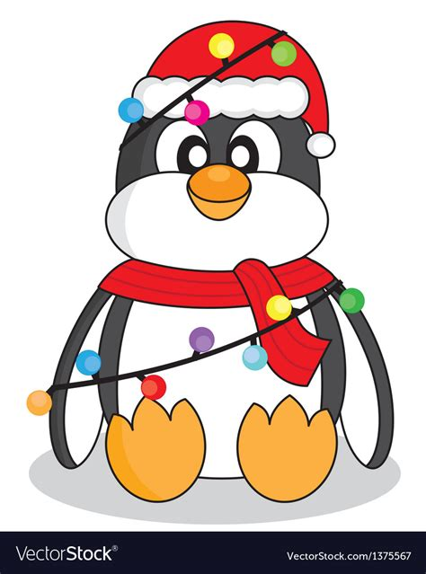 penguin  christmas lights royalty  vector image