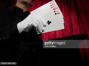 Magician Holding Cards In Gloved Hand Closeup Stock Photo ...