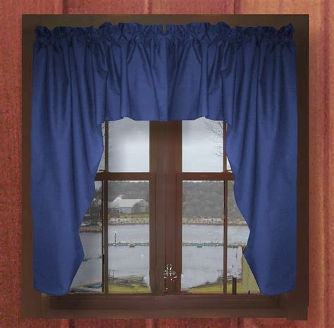 solid royal blue swag window valance