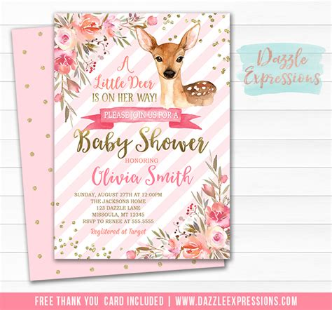 printable floral deer baby shower invitation baby fawn