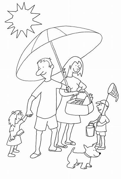 Coloring Summer Beach Pages Drawing Clipart Clip