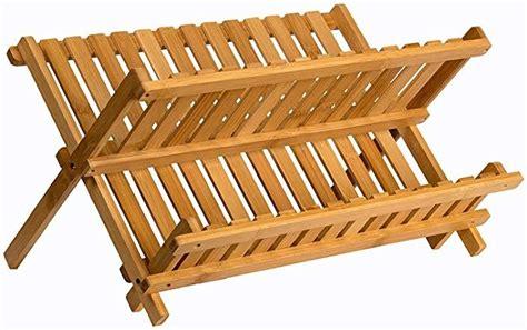 amazoncom sagler wooden dish rack plate rack collapsible compact dish drying rack bamboo dish