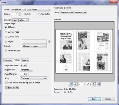 printing multiple pages per sheet of a pdf document pdf studio knowledge base